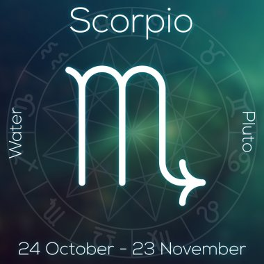 Zodiac sign - Scorpio. White line astrological symbol with caption, dates, planet and element on blurry abstract background with astrology chart.
