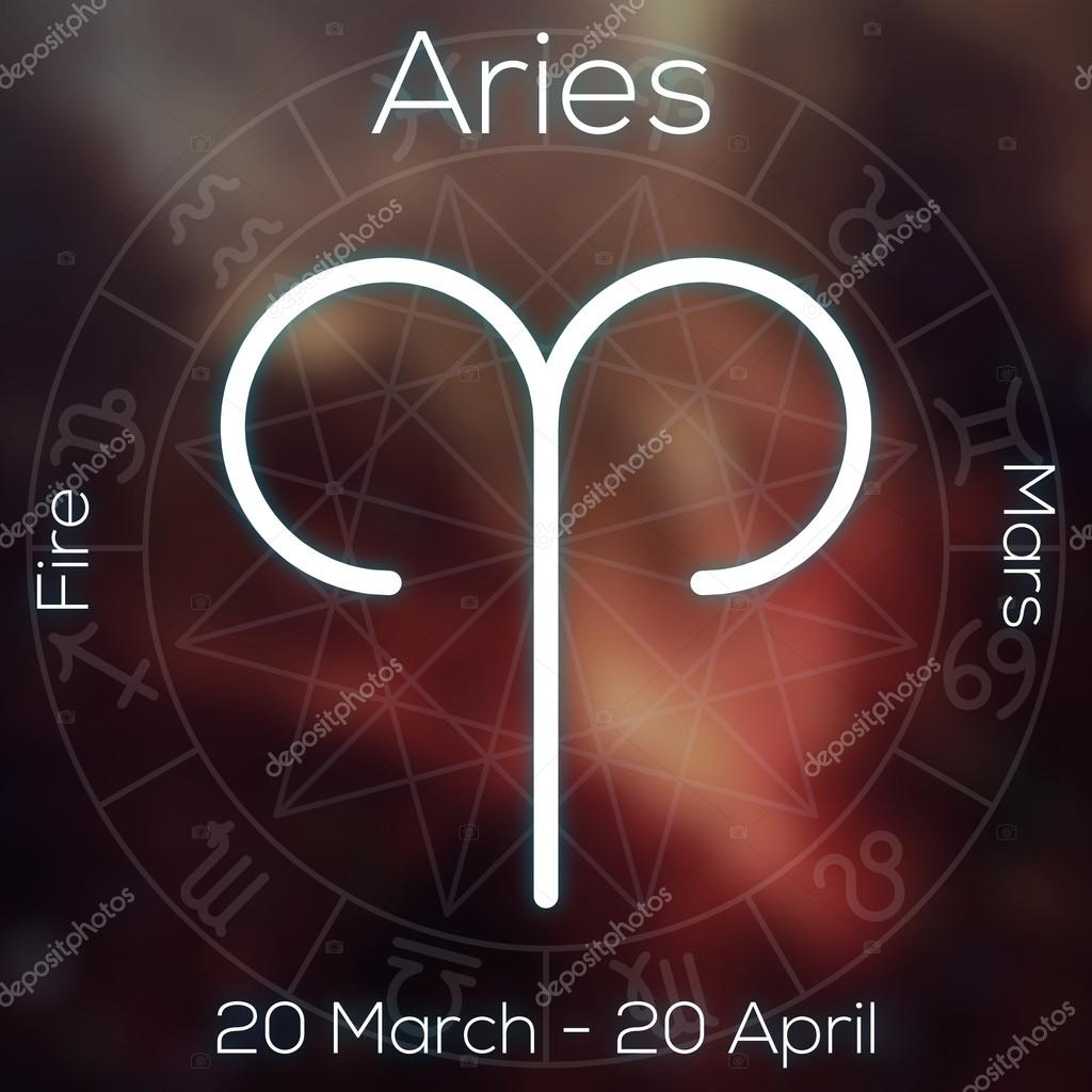 Zodiac sign - Aries. White line astrological symbol with caption, dates, planet and element on blurry abstract background with astrology chart.