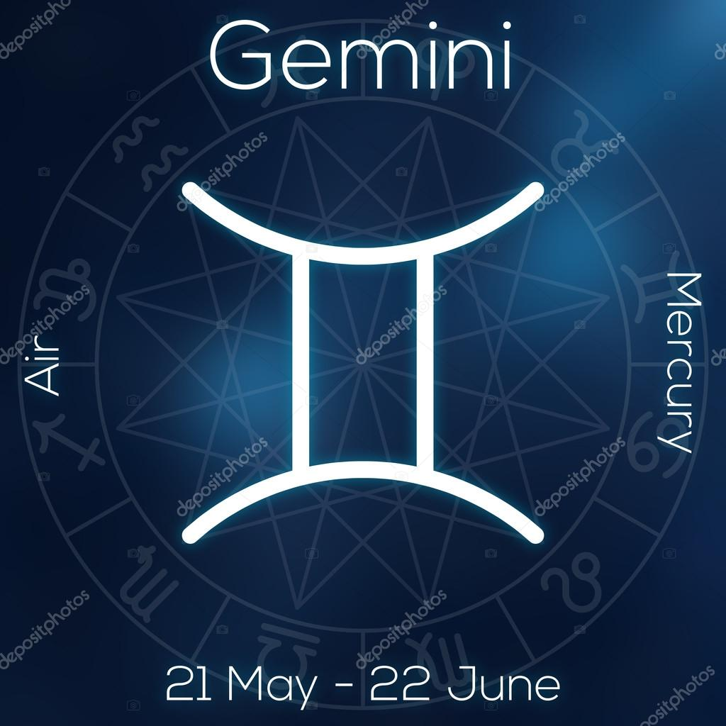 Zodiac sign gemini white line astrological symbol with caption zodiac sign gemini white line astrological symbol with caption dates planet and element on blurry abstract background with astrology chart nvjuhfo Gallery