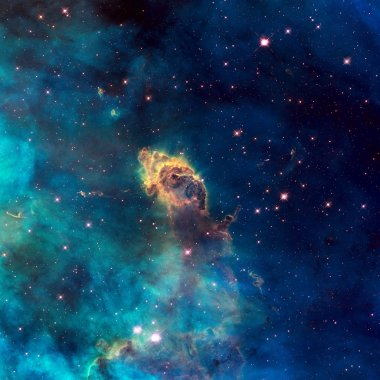 Universe filled with stellar jet, stars, nebula and galaxy.