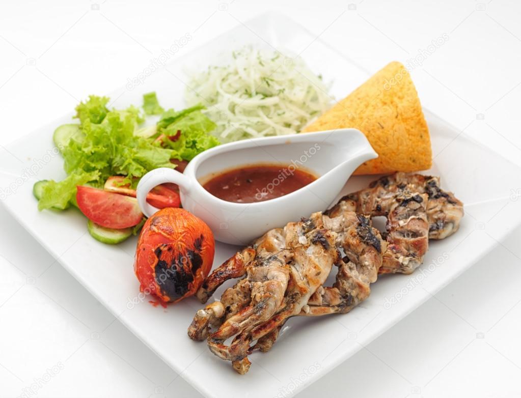 Platos de comida gourmet en el restaurante foto de stock for Platos gourmet