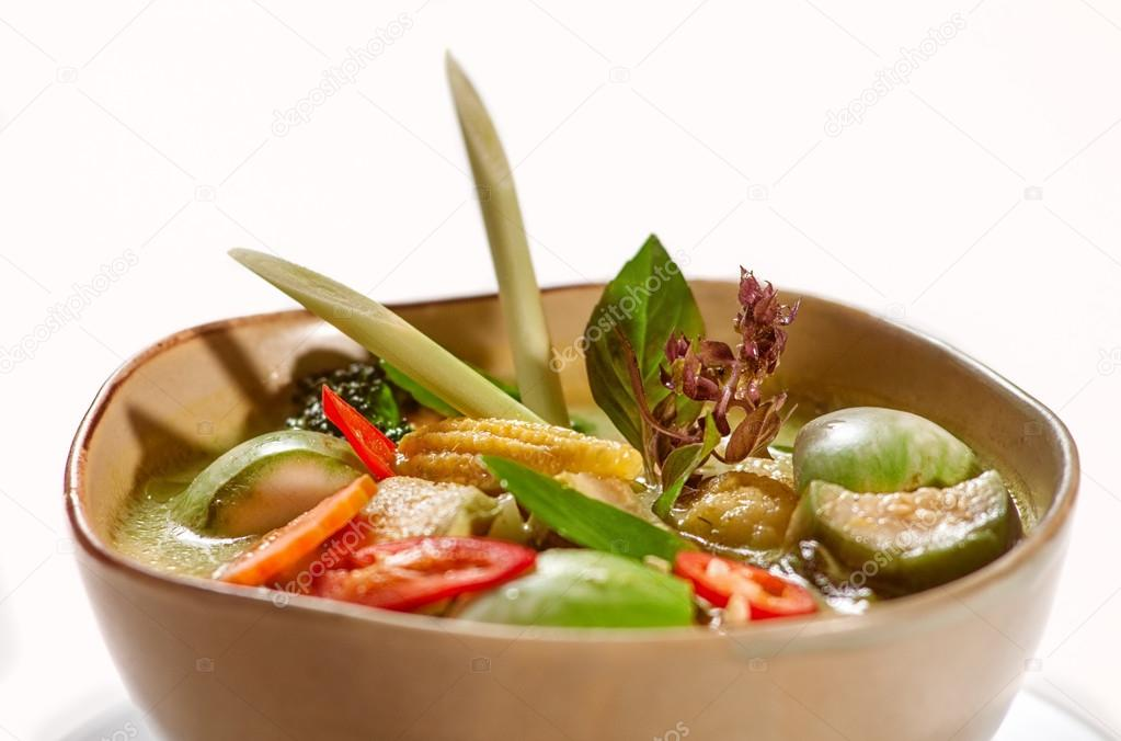 Dishes of international cuisine in restaurant