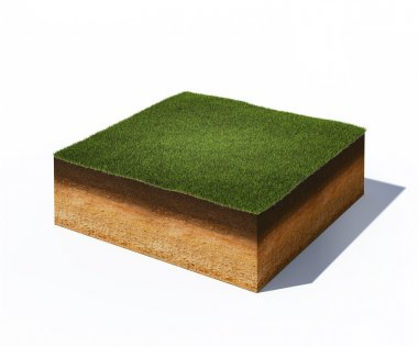 3d illustration of isometric cross section of ground with grass isolated on white stock vector