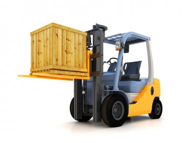 Forklift with container