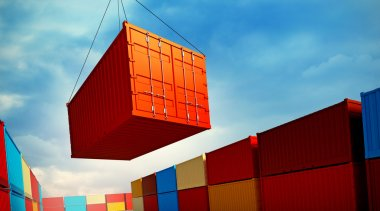 Loading container in port