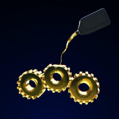 Filling of gears by motor oil