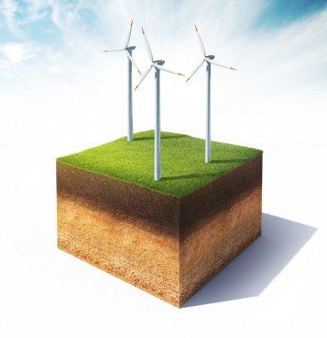 ground with wind turbines
