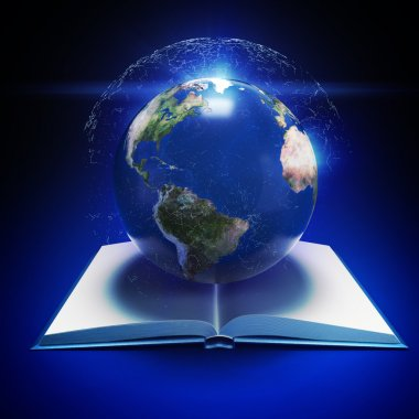 Earth planet and open book