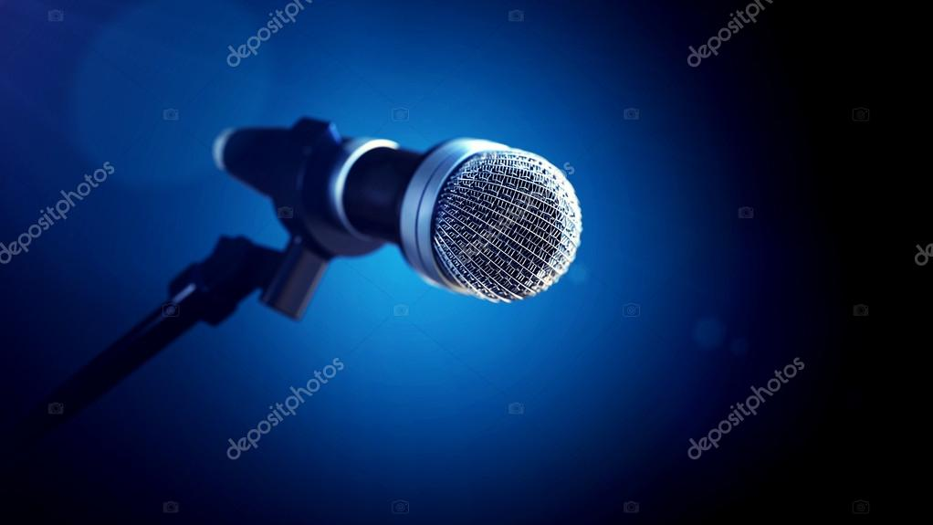 microphone on stage  with blue background