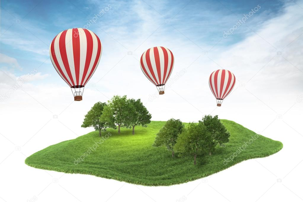hot air balloons floating in the air