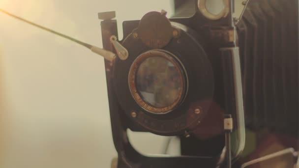 Taking photo on retro camera