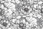 Květinový vzor bezešvé s ručně kreslenou lotosové květy a listy
