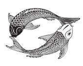 Photo Hand drawn vector illustration of two Koi fishes (Japanese carp)