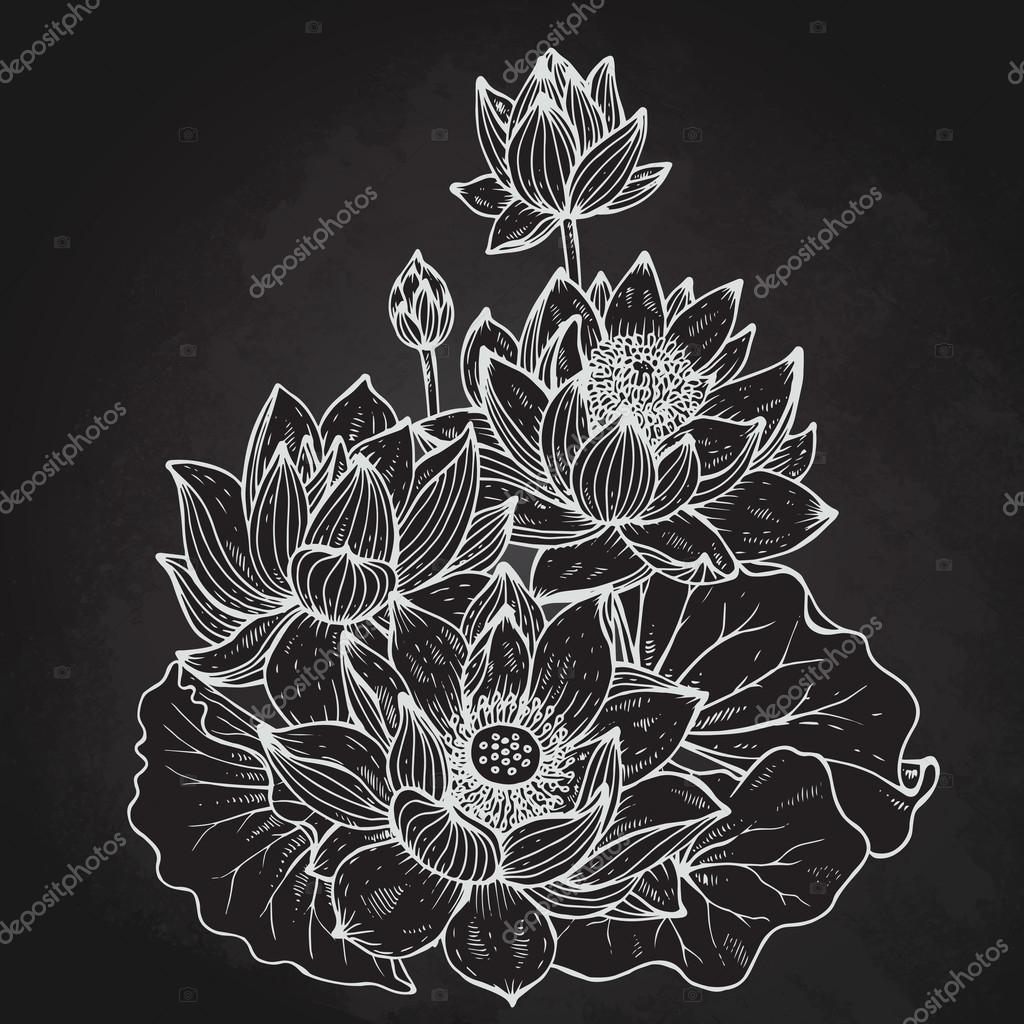 Beautiful monochrome vector floral bouquet of lotus flowers