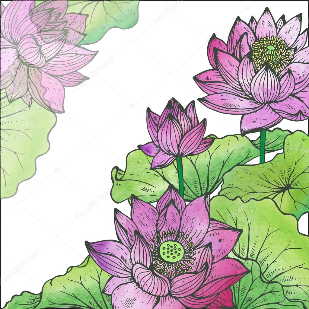 Beautiful vector floral frame with lotus flowers