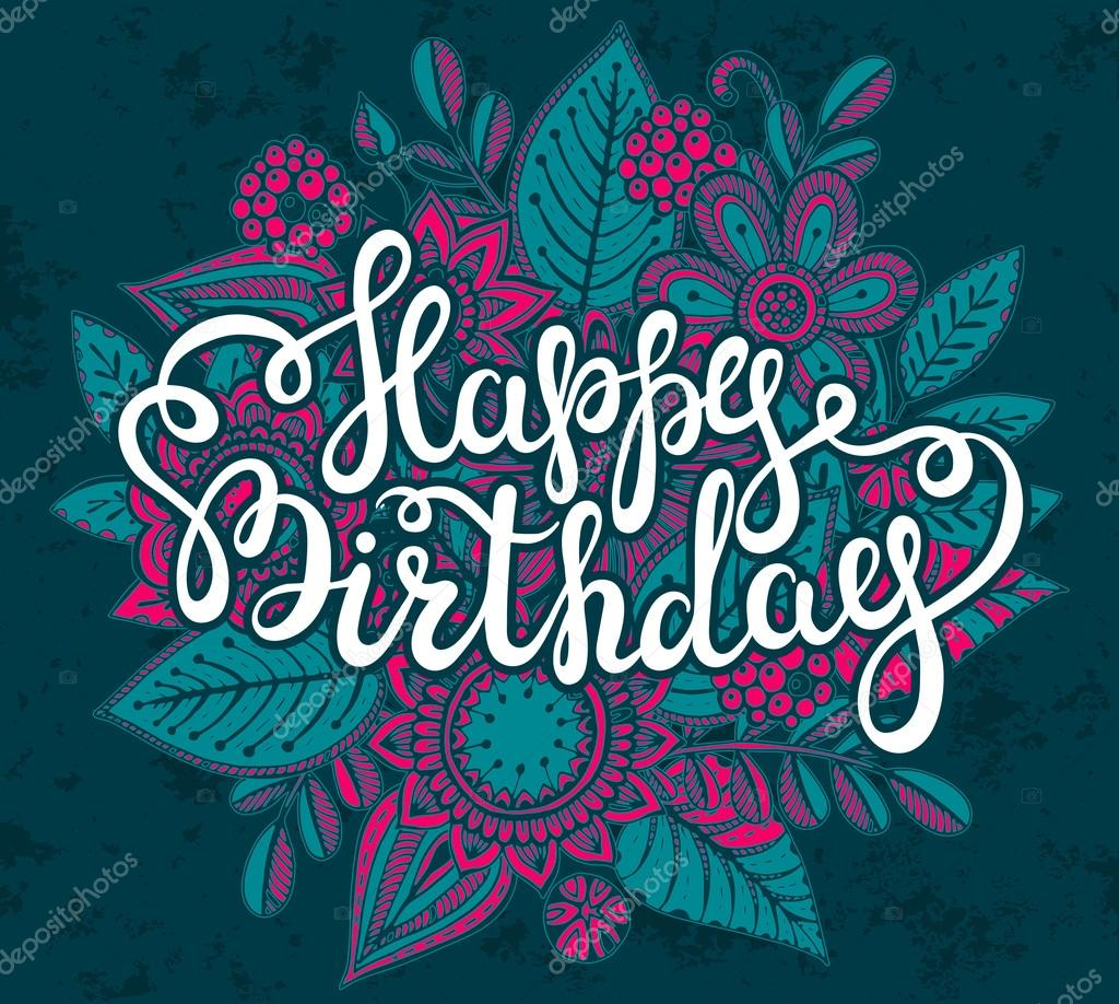 Happy birthday greeting card with graphic floral bouquet stock happy birthday greeting card with graphic floral bouquet stock vector kristyandbryce Image collections