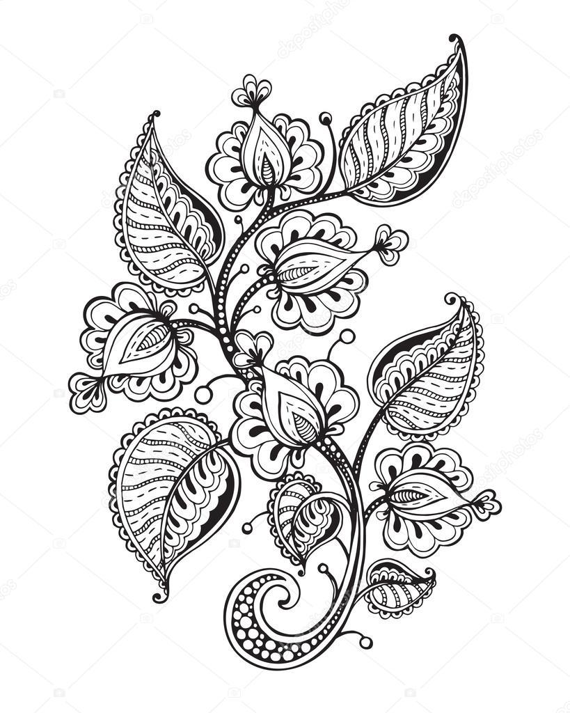 Ilustración de vector de mano flor fantasía dibujados y hojas ...