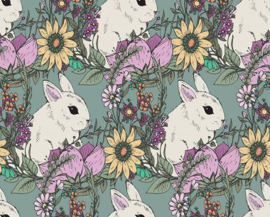 ector floral seamless pattern with hand drawn flowers and cute r