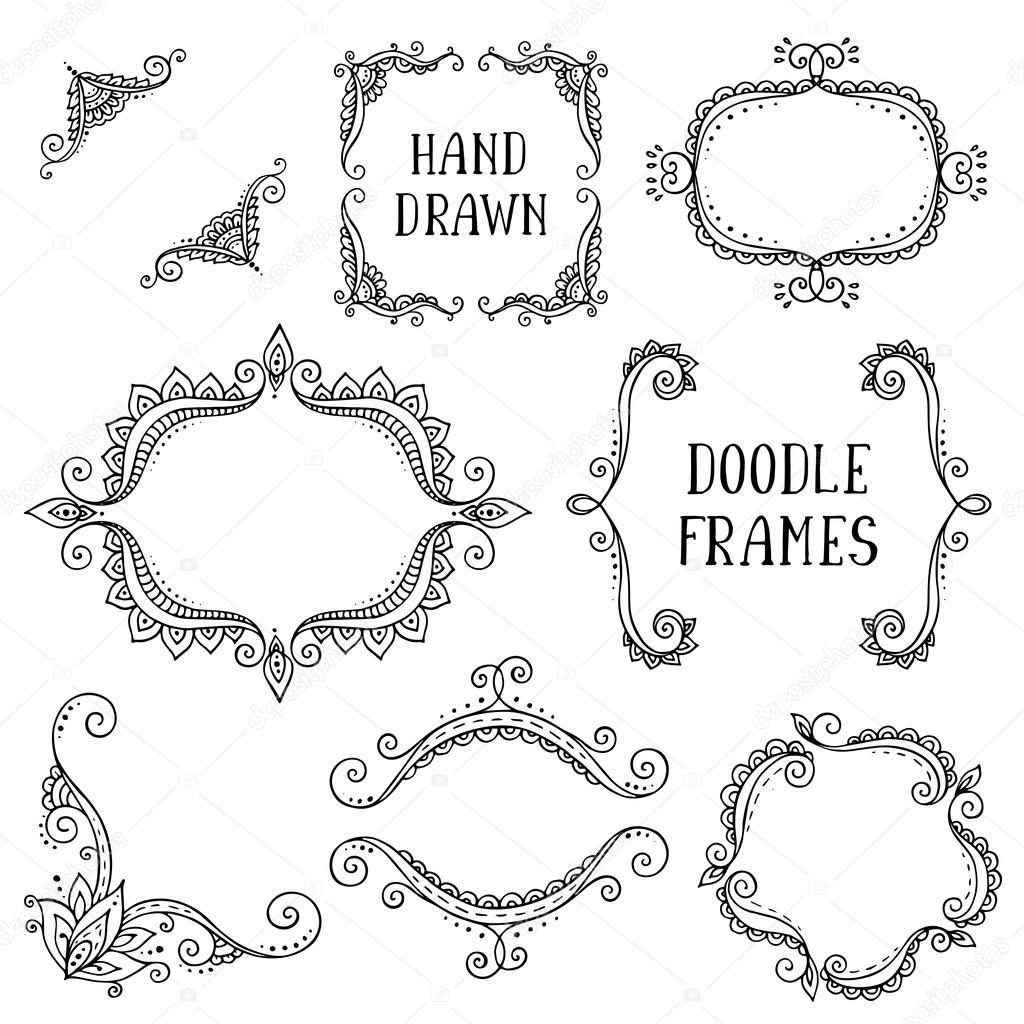 Satz von Hand gezeichneten Vektor doodle Rahmen auf weißem ...