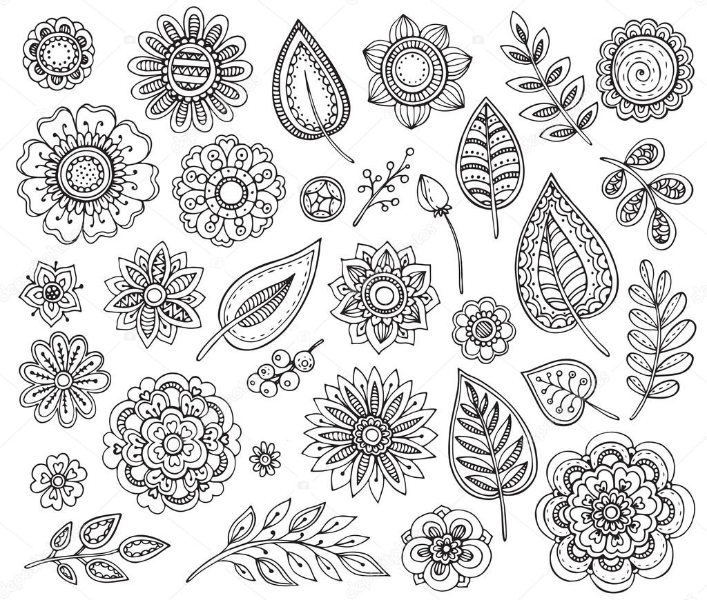 Big vector collection of hand drawn ornate fancy flowers
