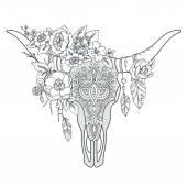 Fotografia Cranio del bull indiano decorativo con ornamento etnico, fiori