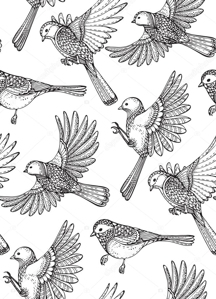 Seamless pattern with  hand drawn ornate birds on sakura branches and flowers.