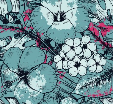 Seamless pattern with colorful hand drawn tropical plants