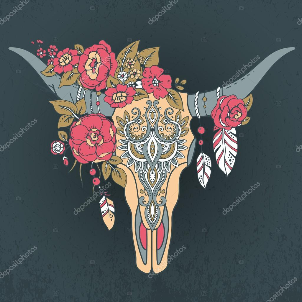 Decorative Indian bull skull with ethnic ornament