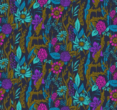Vector seamless pattern with hand drawn flowers and herbs.