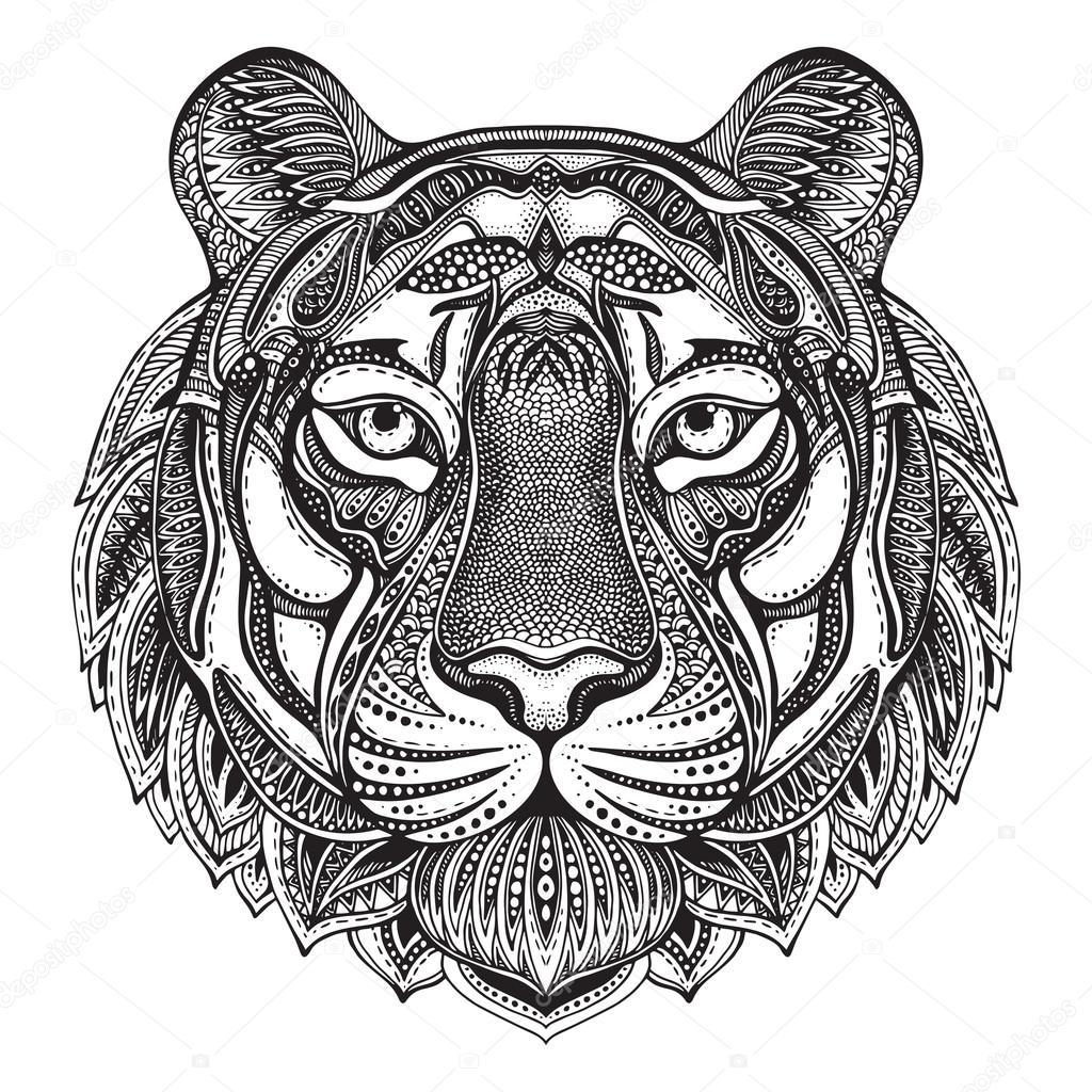 getekend grafische sierlijke tijger stockvector