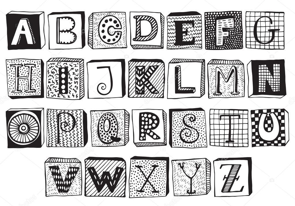 Hand Drawn Fancy Alphabet On Blocks Stock Vector C Natality 119677772
