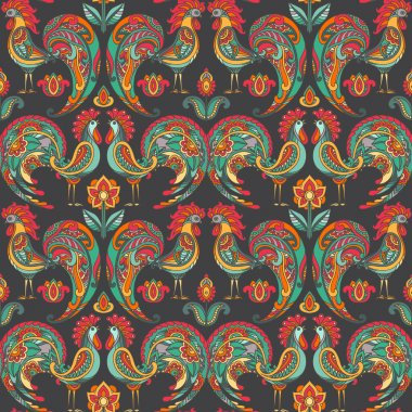 Vector seamless pattern with roosters and flowers.