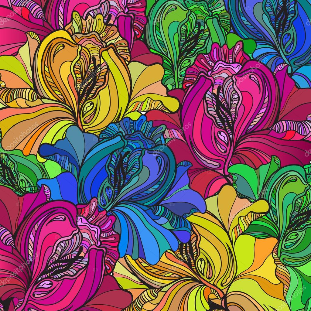 Vector background with ornament of the graphic flowers.