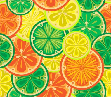 Seamless pattern of oranges, lemons and limes.