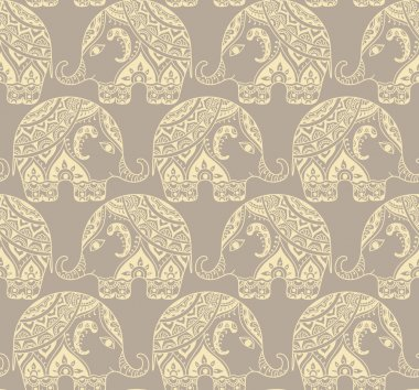 Clear seamless texture with stylized patterned elephants in Indi