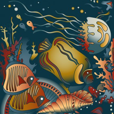 Vector illustration with underwater world