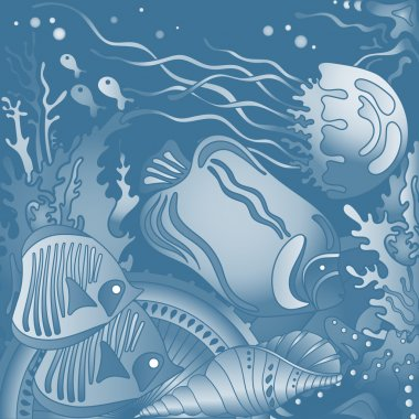 Vector illustration with underwater world of the tropical sea, c