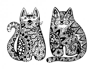 Vector funny cats with floral ornament.