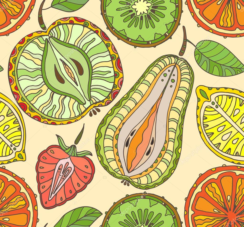 Seamless fruits pattern. Abstract background with fruits. Healthy food texture.