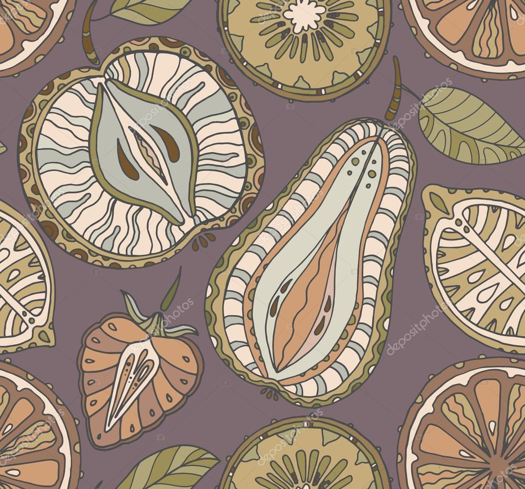 Seamless fruits pattern. Abstract background with fruits. Health