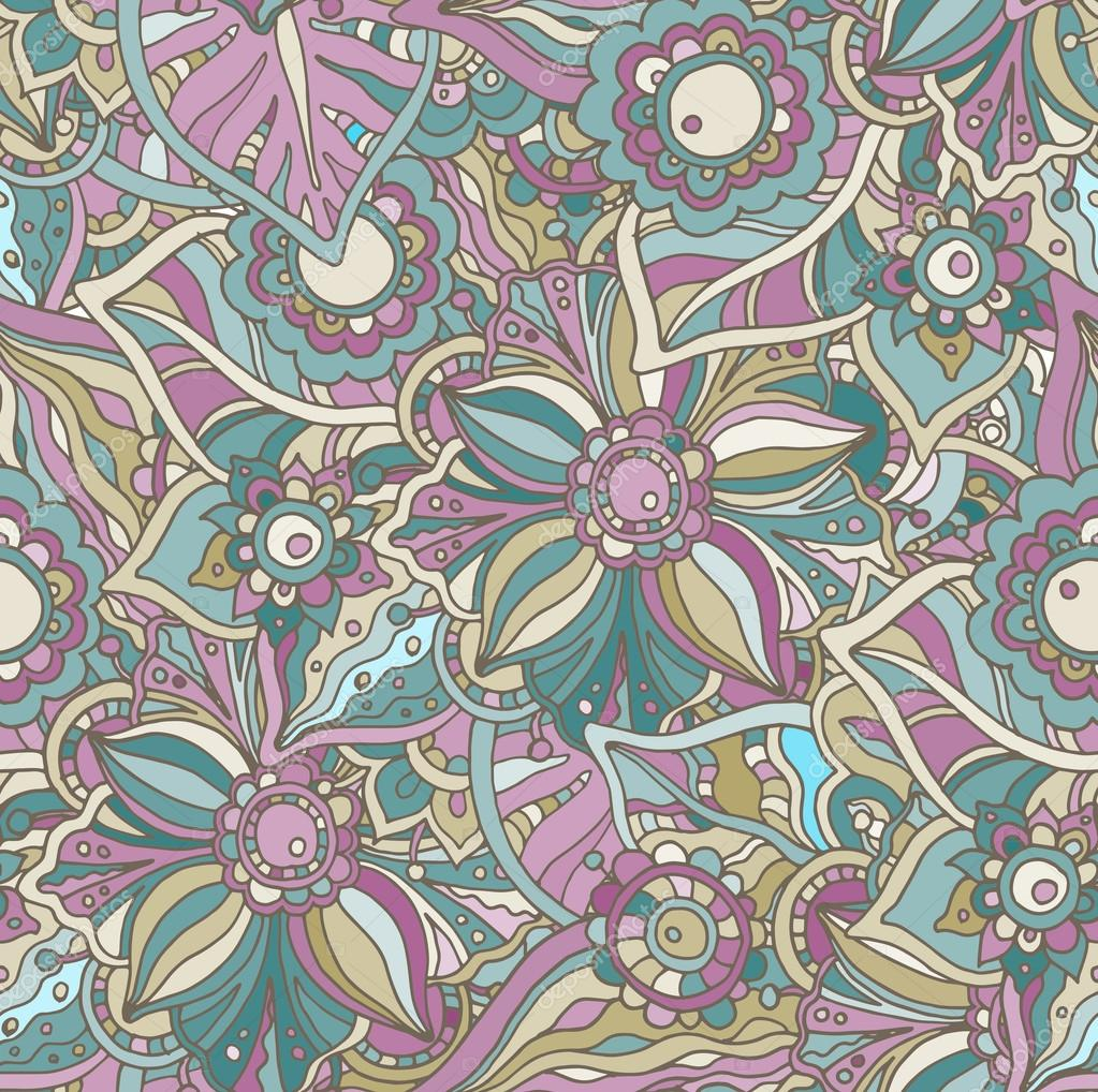 Seamless vector pattern with Doodle flowers and leaves.