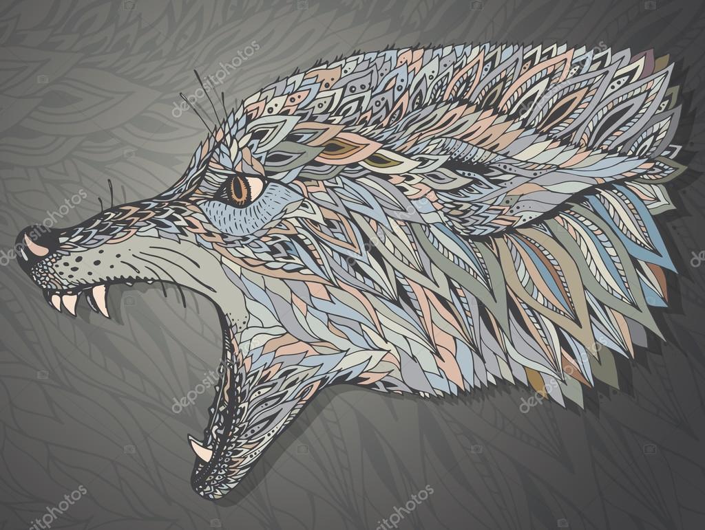 tatouage tete de loup graphique
