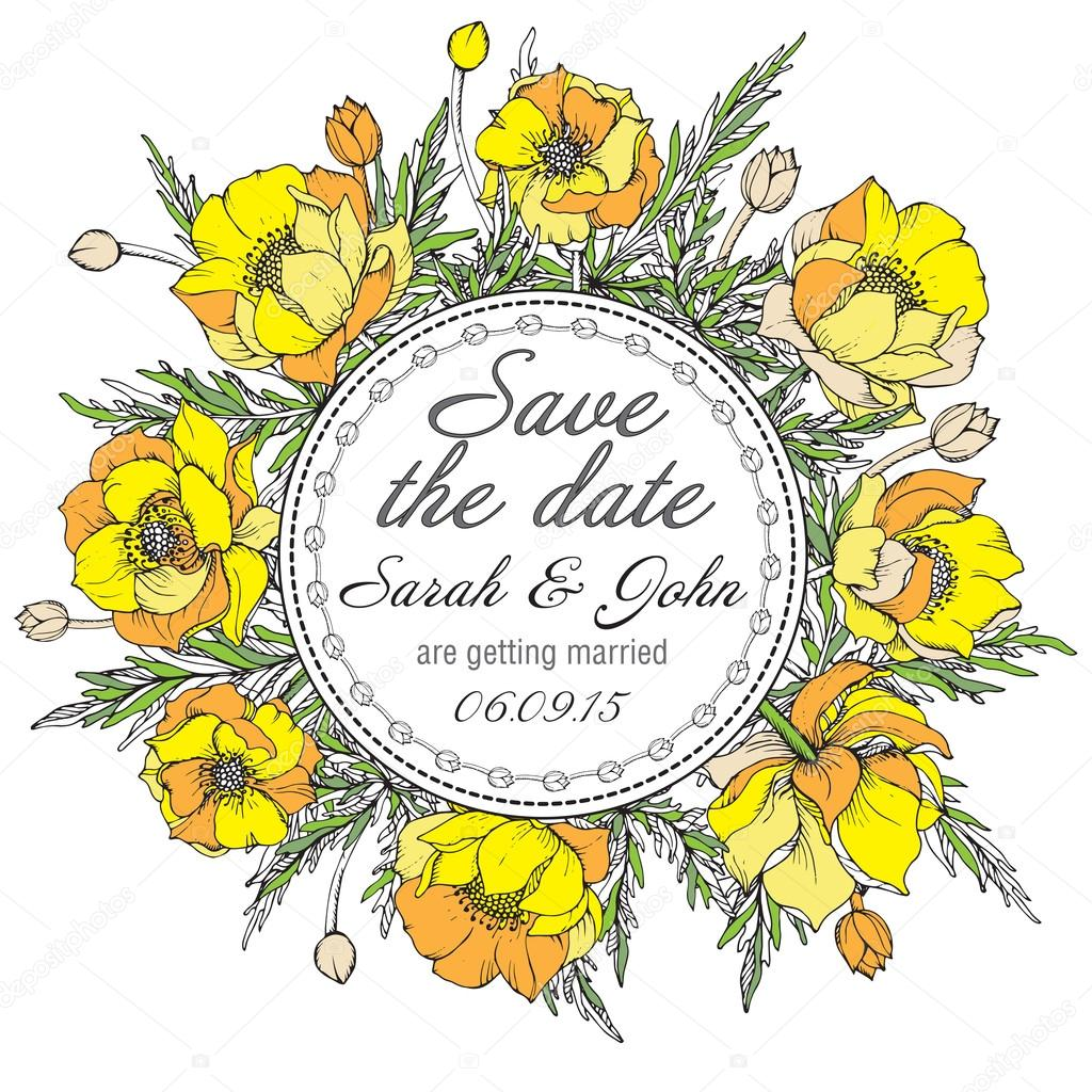 Vintage elegant wedding invitation or card Save the Date with graphic yellow flowers (trollius)