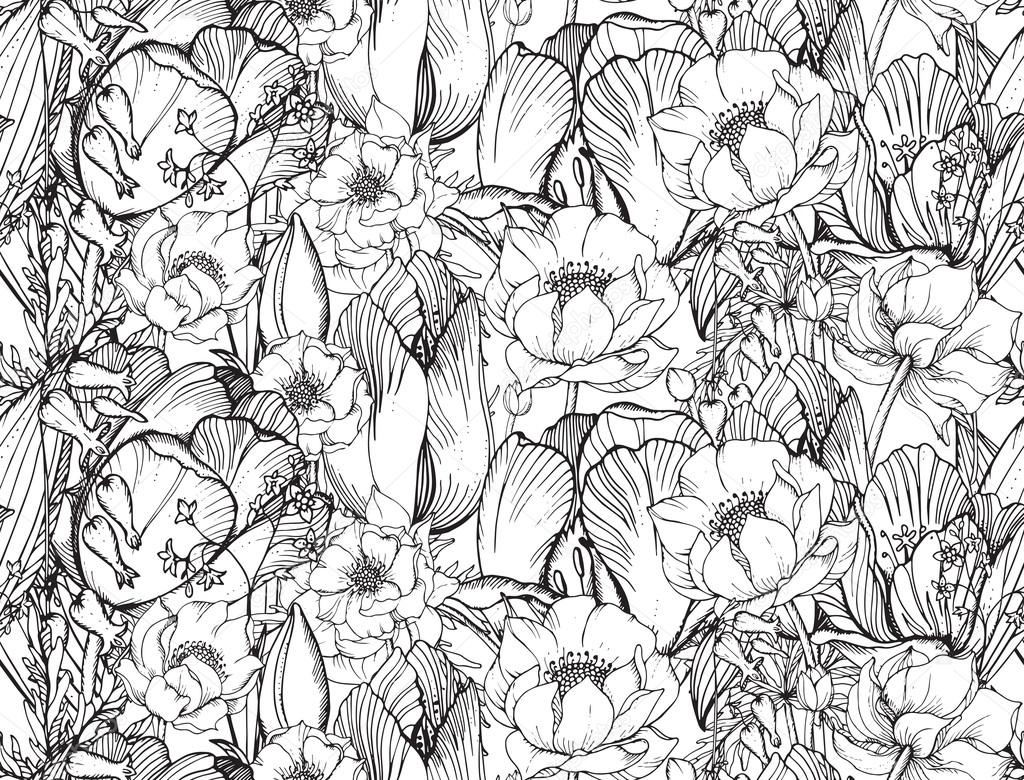 Vector seamless pattern with graphic spring flowers (tulips) in