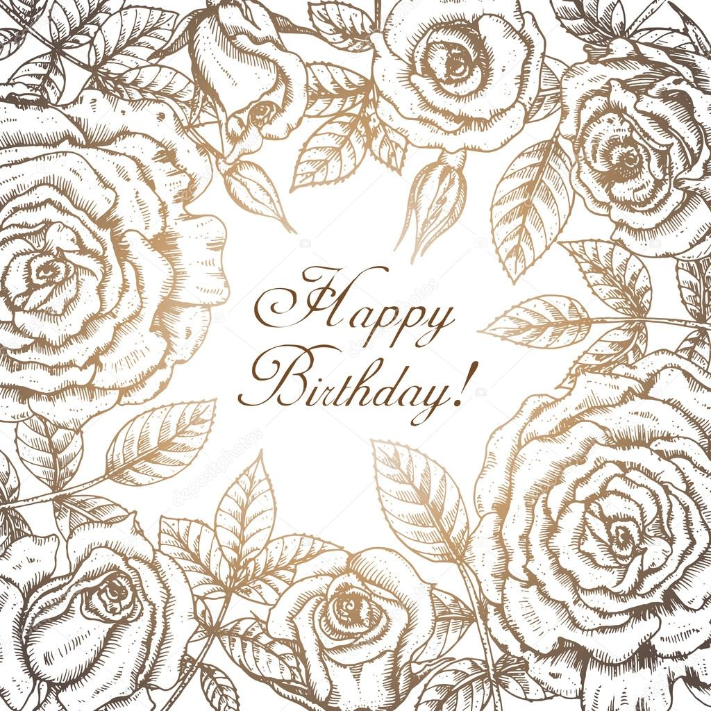 Vintage elegant greeting card with graphic flowers (roses).