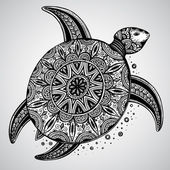 Photo Hand drawn vector monochrome doodle turtle decorated with orient