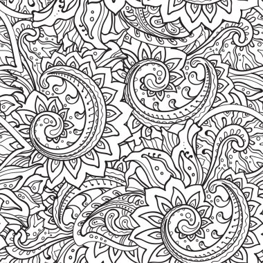 Seamless pattern with traditional vector oriental floral ornamen