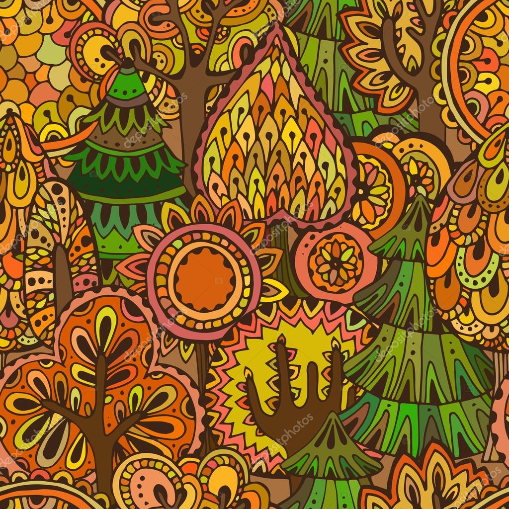Vector seamless pattern with hand drawn doodle trees.