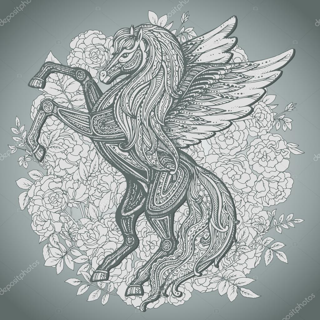 Hand Drawn Pegasus Mythological Winged Horse Stock Vector C Natality 83198908