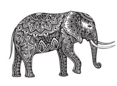 Stylized fantasy patterned elephant. Hand drawn vector illustrat